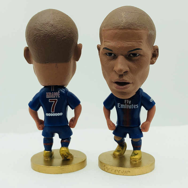 Soccerwe Mbappe Doll PSG7# Football Team 2019 Home Kit Sports Figure 2.6 Inches Height Resin