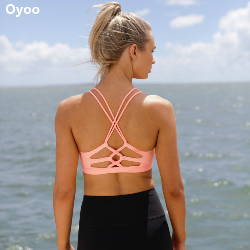 Oyoo Twist Knotted Stripes Padded Sport Bra X Cross Back <font><b>Cropped</b></font> <font><b>Fitness</b></font> <font><b>Top</b></font> <font><b>Sexy</b></font> V Neck High Impact Exercise Yoga Bras Gymwear image