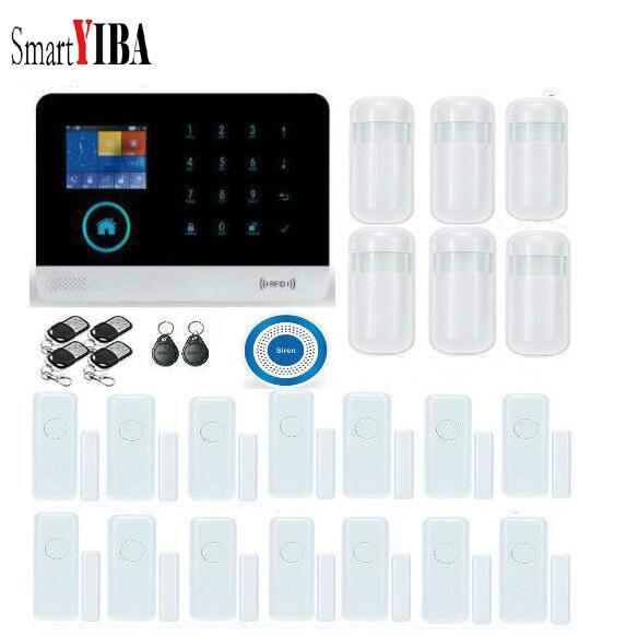 SmartYIBA OS Android APP Применение WI FI сигнализации Системы с Беспроводной siren двери, окна Сенсор Беспроводной GSM Alarmes Наборы
