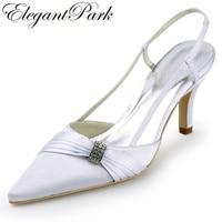 Kadın düğün ayakkabı EP11114 Beyaz Fildişi Sivri Burun Slingback Rhinestone 3