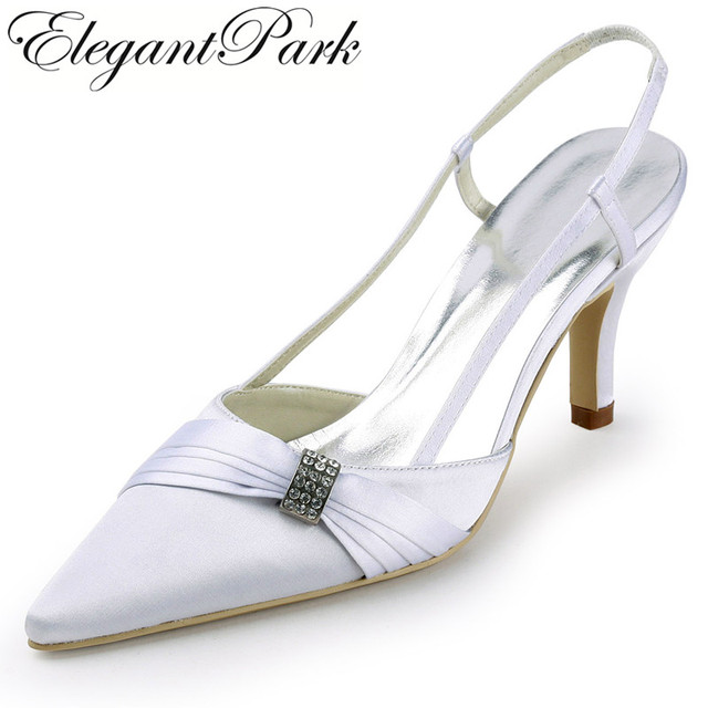 81b1185ba8 Woman wedding shoes EP11114 White Ivory Pointed Toe Slingback Rhinestone 3