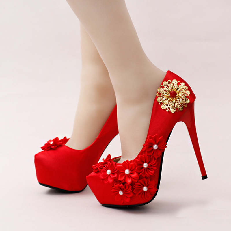Comfortable Satin Wedding Shoes Stilettos Bridal Dress Shoes Red Color Formal Dress Shoes Mother of The