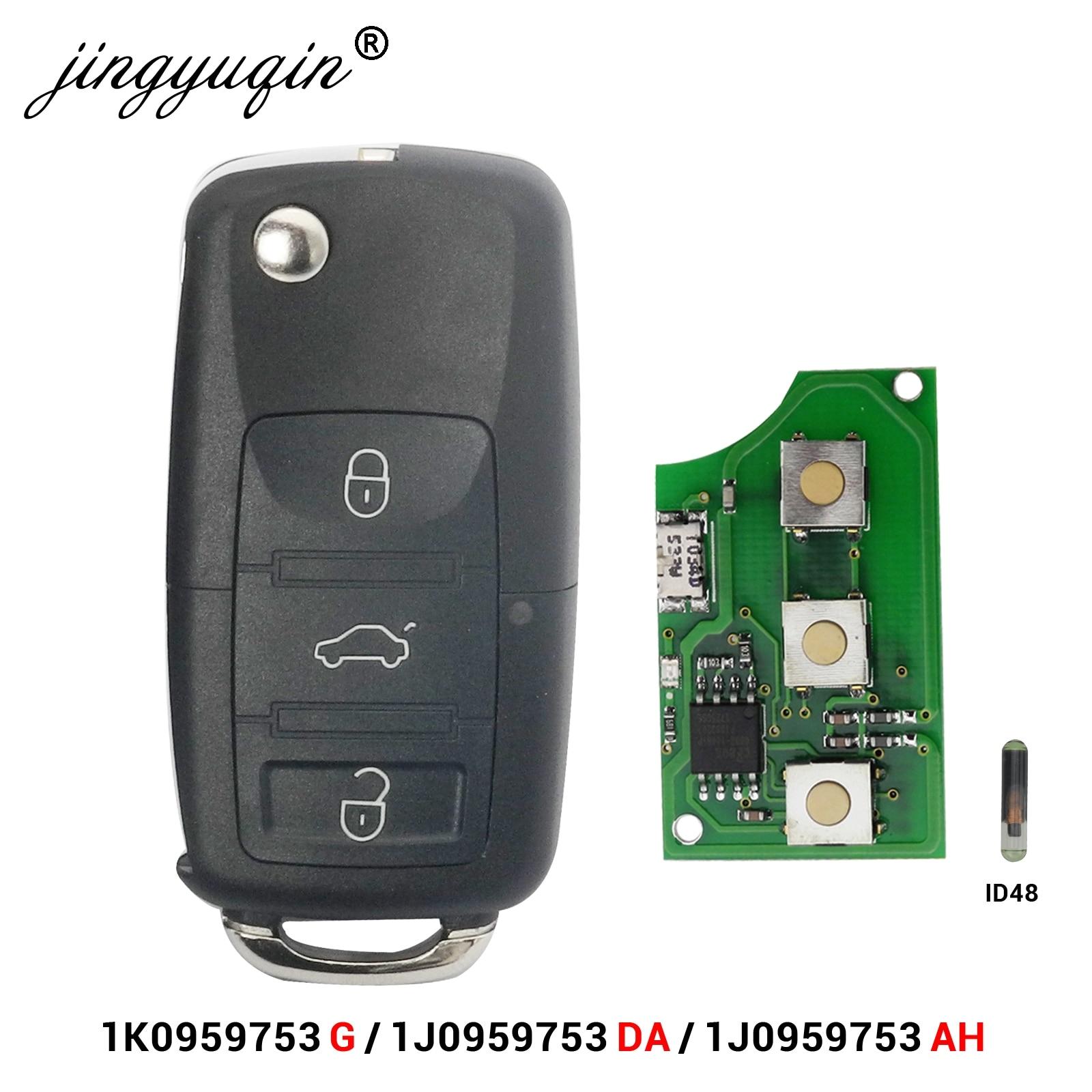 Флип-чехол jingyuqin с 3 кнопками для VW PASSAT Polo Skoda Seat Polo/Golf/Beetle 1J0959753 DA/AH 1K0959753G 434 МГц ID48