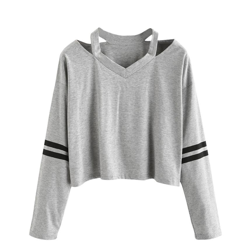 Casual Fashion Sweatshirt Wome 2018 Long Sleeve Sweatshirts V Neck Womens Tops Feb02.6A
