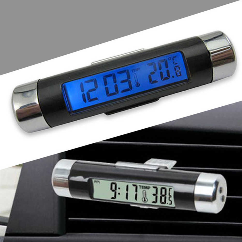2 In 1 Car Kit Electronic Clock Thermometer, Transparent LCD Display, Car Air Outlet Type Electronic Clock With Clip