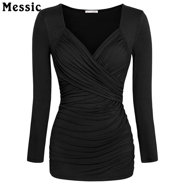 Messic Fashion Long Sleeve Crossover V Neck T-shirt Slim Fit Pleated Sexy Shirt Top Femme Bodycon Casual Tunic Tops for Women