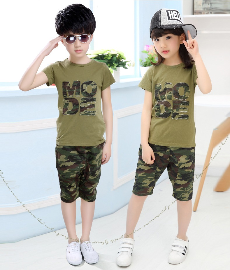 Buy New Children's Summer Clothing Fashion Camouflage Short Sleeve T-shirt + Pants 2 pieces Sets Baby Boys Girls sets Kids Clothes