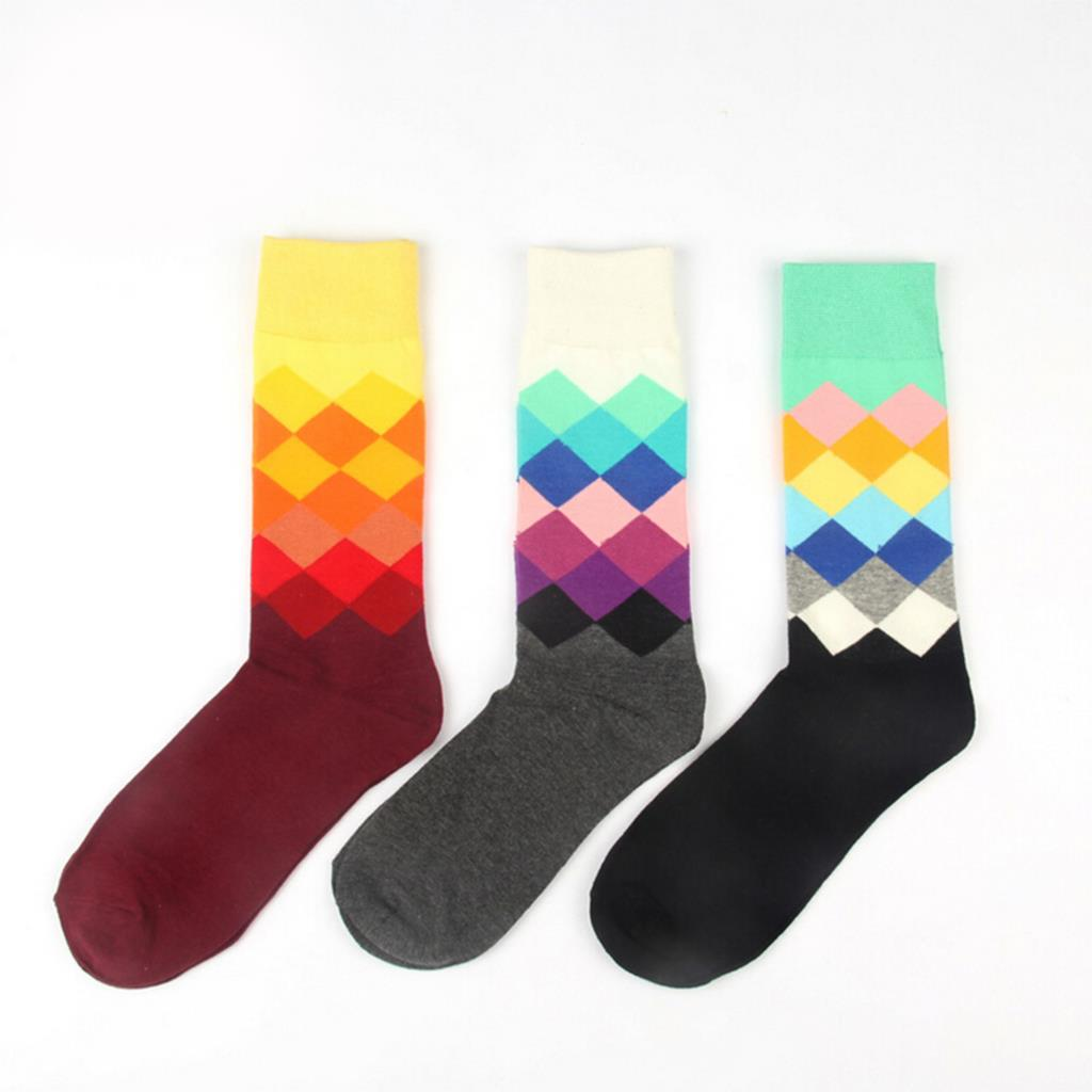 1 Pair Male New Brand Happy Socks Gradient Color Paragraph British Style Pure Cotton Stockings Mens In Tube Socks 6colors