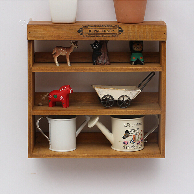 Vintage Wooden Storage Holders U0026 Racks Decorative Non Folding Wall Mounted  Shelf For Toy Living