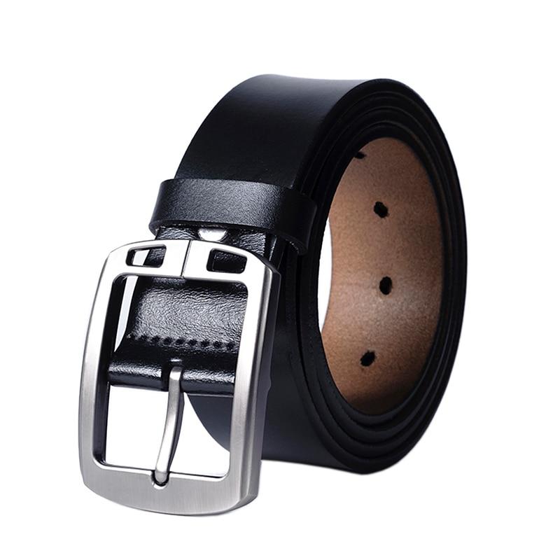 Himunu Black Jeans Genuine Leather Belt For Men Cowskin leather Pin Buckle Men Belts Vintage High Quality Belts Mens Leather