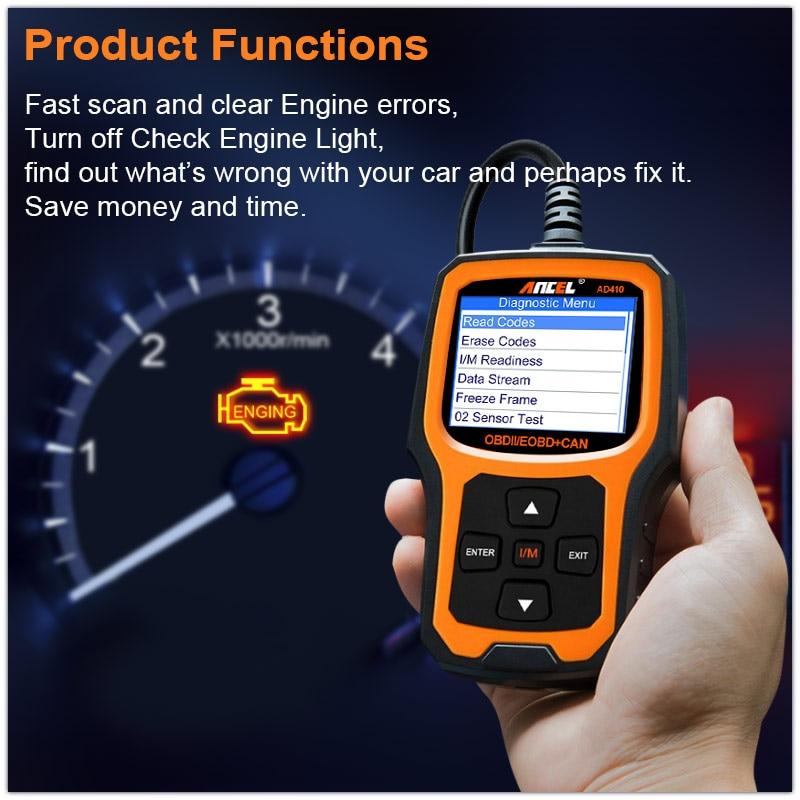 Ancel AD410 Car Diagnostic Tool OBD2 Automotive Scanner Supports ...