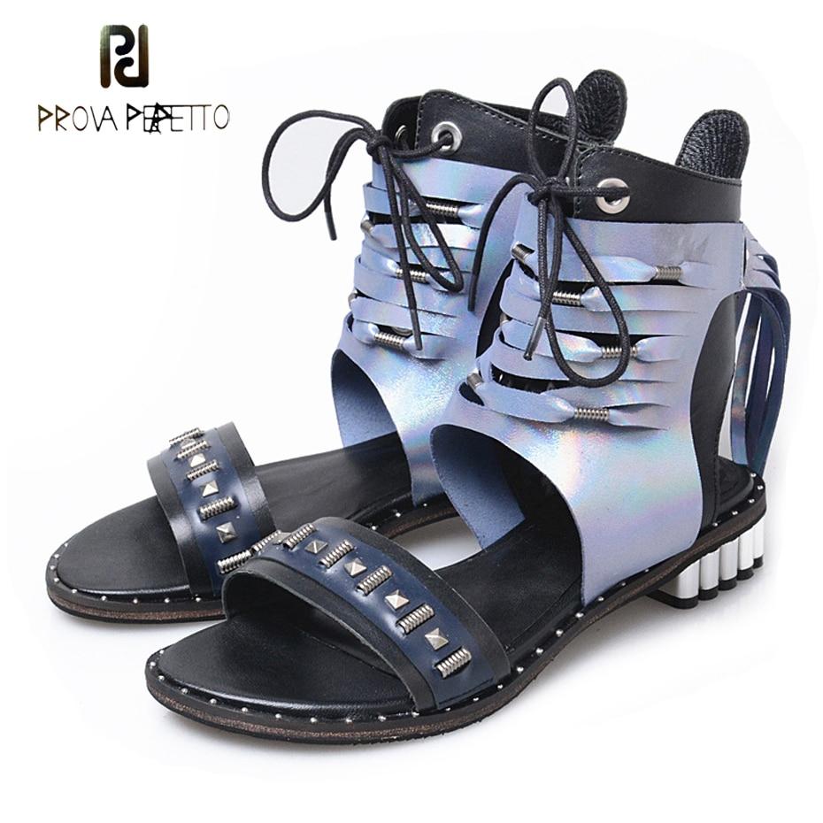Здесь продается  Prova Perfetto real leather patchwork tassel gladiator sandals metal decor ankle strap sandal boots women zip casual shoe flats  Обувь