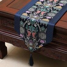 Neue Desgin Chinesischen Vintage Blue Fish Seide Tischläufer Tuch & Bett Flagge Blume Hochzeit