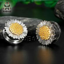 цена KUBOOZ 2PCS Ear Piercing Plugs Tunnels Sunflower Screw Gauges Earrings Expander Flesh Fashion Stainless Steel Body Jewelry Gift онлайн в 2017 году