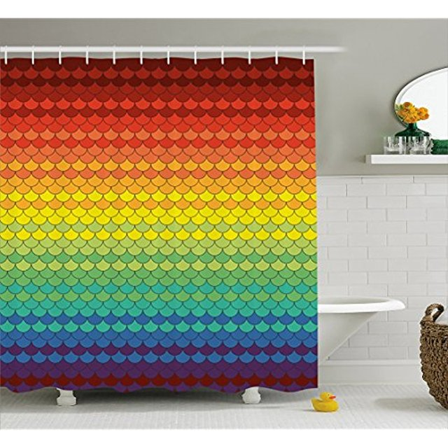 Vixm Fiesta Shower Curtain Colorful Scale Snake And Dragon Skin Abstract Composition Rainbow Inspired Fabric Bath Curtains