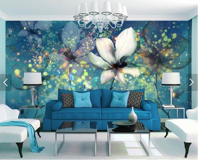 Elegant Custom 3D Murals,Transparent Beautiful Dream Flower Under The Blue Glare  Papel De Parede, Amazing Pictures