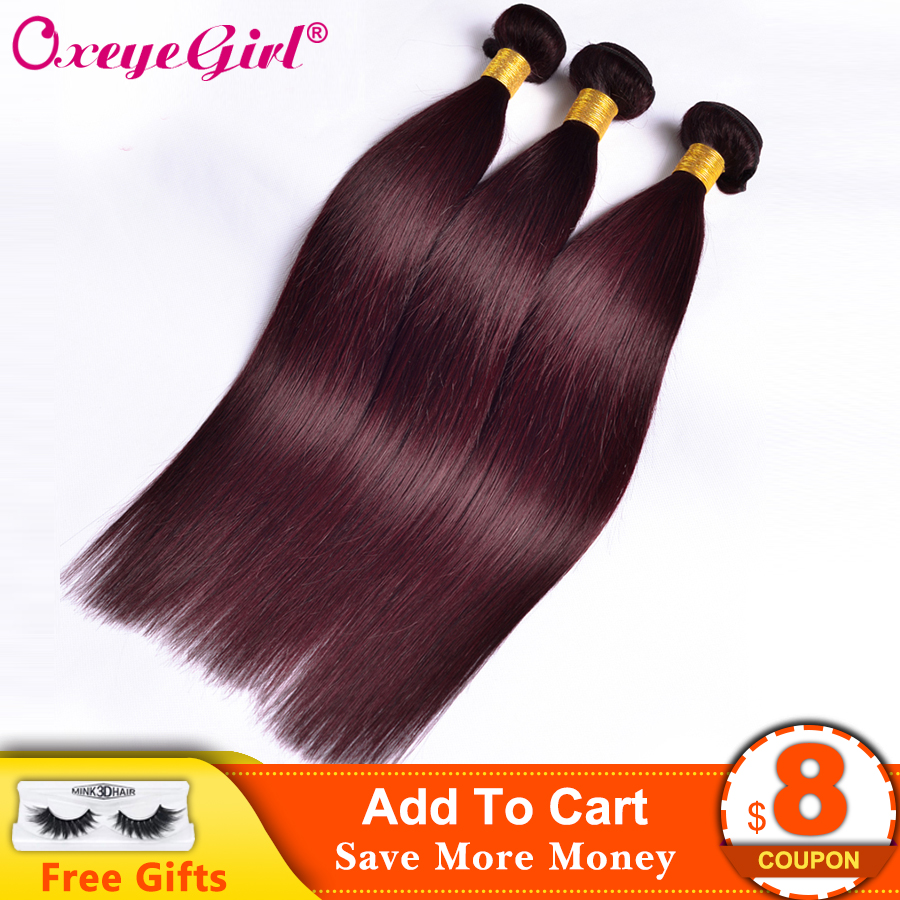 Burgundi kötegek brazil hajszövés kötegek egyenes hajcsomagolás 99J vörös bordó emberi haj kötegek nem remy színes haj
