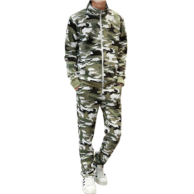 2016 autumn camouflage men tracksuit sweatshirts hooides and pants 3 colors M-3XL CYG118