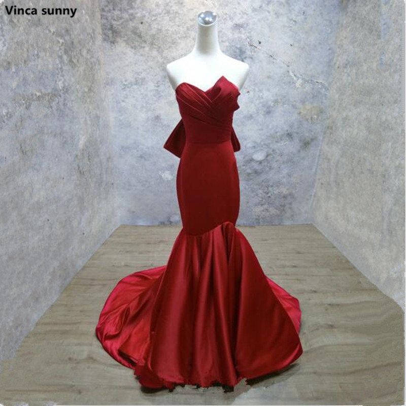 Vinca sunny Robe De Soiree Sexy Mermaid red Evening Dress formal Celebrity Dresses off the shoulder evening gowns on sale ...