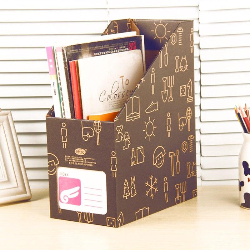 Kraft Paper Desk Organizer DIY Desktop Storage Box for Files Books Stationery Pen Pencil Holder Makeup Organizer File Box 1PC