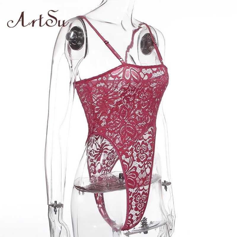 ArtSu Hot Roze Kant Bloemen Hoge Cut Bandjes Bodysuit Vrouwen Transparante Mouwloze Backless Body Nachtkleding Jumpsuit ASJU60141