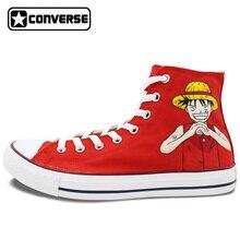 Anime Converse All Star Rojo Hombre Mujer Zapatos de Una Pieza Luffy Ace Diseño Pintado A Mano Lienzo Zapatillas Cosplay Regalos Únicos