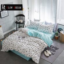 SLOWDREAM Geometry Bedding Set Striped Bed Flat Sheet Bed Linens Pillowcase Duvet Cover Set Simple Decor Double Bedspread Bed