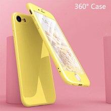 Гладкая Macaron твердая Передняя Задняя крышка 360 чехол для iPhone 8 7 6 6s плюс X 10 ударопрочный полный корпус покрытие чехол + закаленное стекло