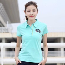 free shipping Women shirts New self-cultivation solid color lady Polo collar short sleeve cotton ladies T045