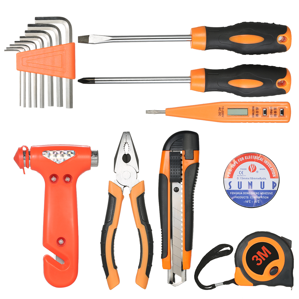 US $21 06  B 18pcs household appliances Hand Tools set Electrical  Maintenance Repair Tool wrench + screwdriver + knife + Hammer tool box-in  Hand Tool
