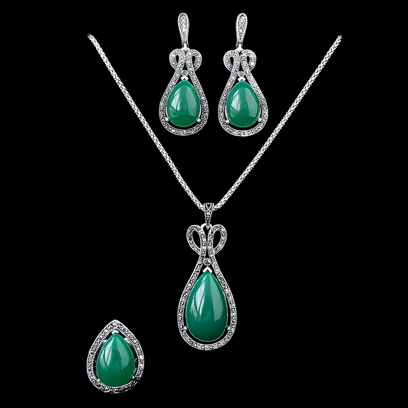 Vintage Jewelry Black Crystal And Green Water Drop Necklace Earrings Ring Set Antique Silver Plated Jewellery