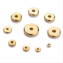 hot deal buy 50pcs 4/5/6/7/8/10mm metal brass round flat loose spacer beads fit bracelet finding gold color spacer beads diy jewelry making