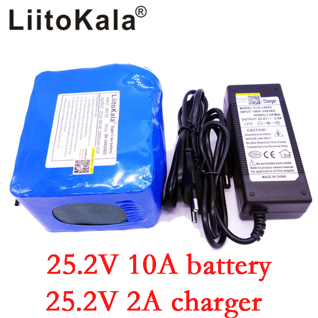 LiitoKala 6S5P 24V 10Ah 18650 lithium battery pack 25 2v Electric Bicycle moped electric lithium ion