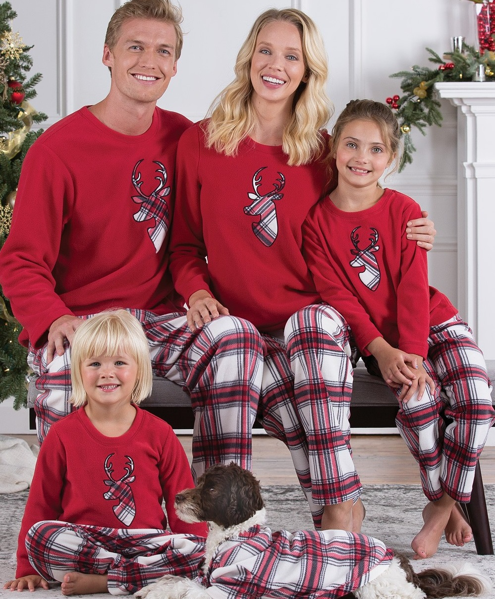 Plaid Sleepwear Christmas Deer Family Pajamas Sets Dad Mom Kids Nightwear Christmas Pajamas Family Matching Clothes Outfits Look