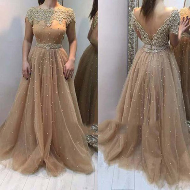 9f41d8b93a Modest Pearl Champagne Color Evening Dresses Long Appliques Backless Back V  Tulle Prom Gowns Short Sleeves Vestidos De Festa