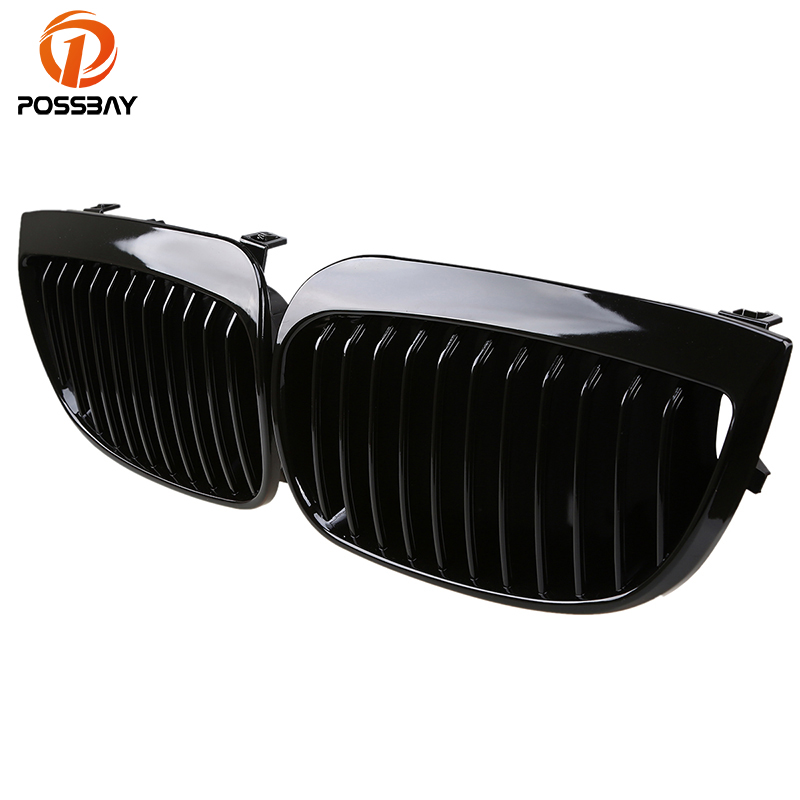 POSSBAY Front Kidney Grille Grill Gloss Black Racing Grills for BMW 1-Series E87 120i/123d/130i 5-door 2004-2007 Pre-facelift possbay chrome front hood kidney grilles for bmw x5 e53 3 0d 3 0i 4 4i 4 8is 2003 2007 facelift front bumper center grills