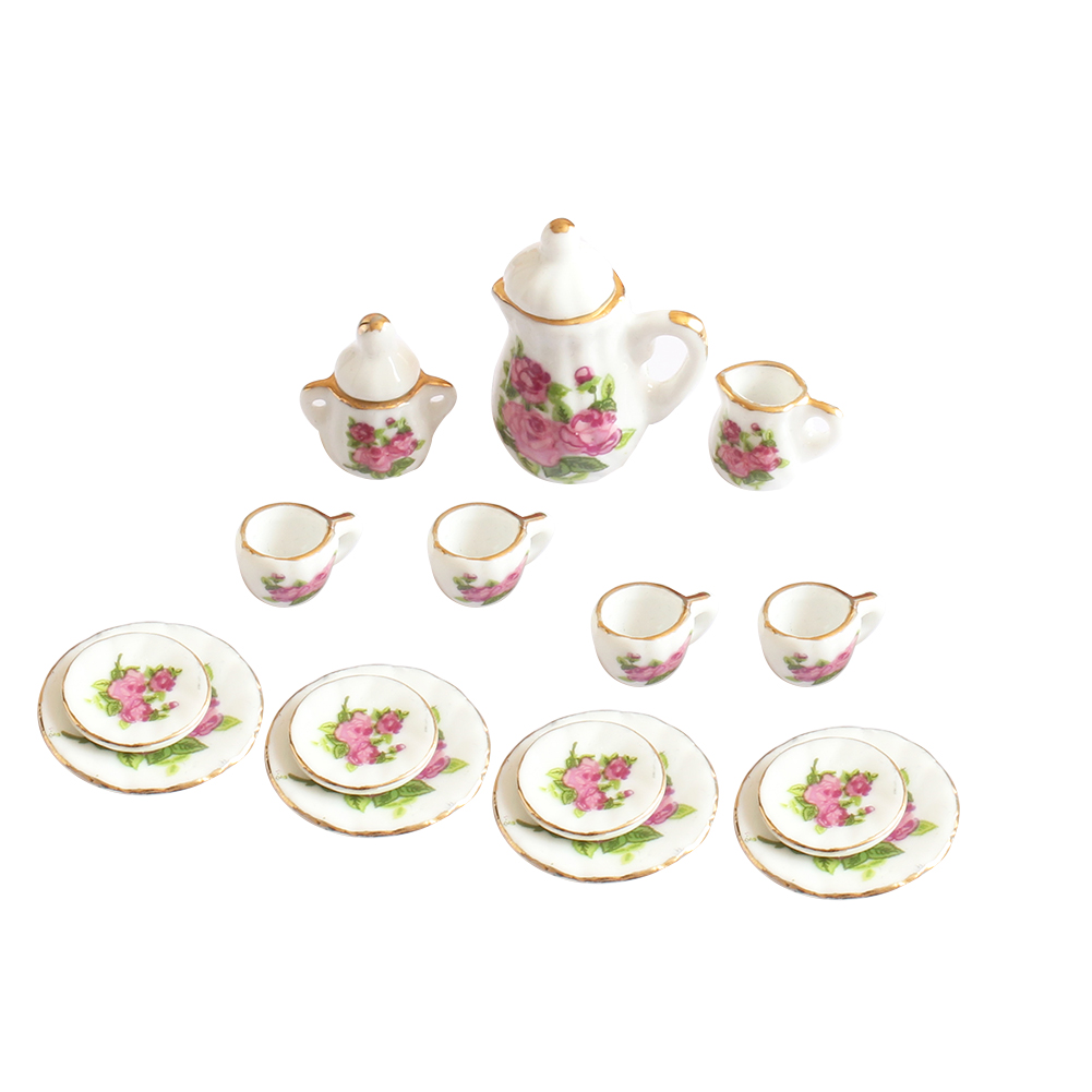 Image 2 - Creative Ceramic Mini Tea Set Green Flower Pattern Porcelain Ceramic Tea Set Kids Toy Mini Kitchen Toy for Kids Adults 15pcs-in Kitchen Toys from Toys & Hobbies
