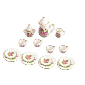 Image 2 - Creative Ceramic Mini Tea Set Green Flower Pattern Porcelain Ceramic Tea Set Kids Toy Mini Kitchen Toy for Kids Adults 15pcs