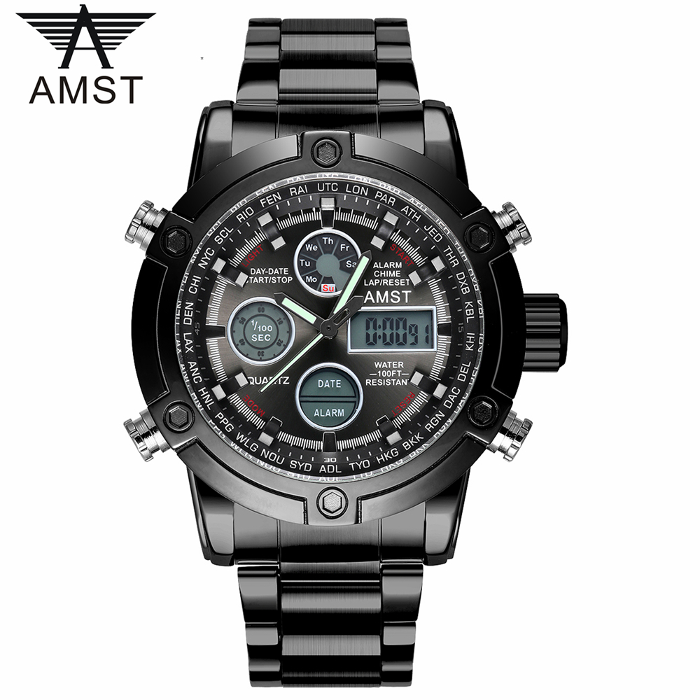 Male Fashion Sport Military Wristwatches 2017 New AMST Watches Men Luxury Brand 5ATM 50m Dive LED Digital Analog Quartz Watches