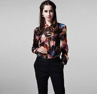 100% Шелковая атласная рубашка женская с принтом Новая Desigual Весенняя рубашка мягкая и удобная одежда Бесплатная доставка