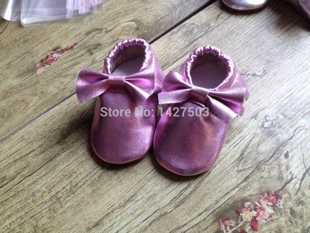 2015 оптовая Подлинная Овцы Кожа Малышей детские мокасины кисточкой детская обувь с лук Первые Ходунки противоскользящие Детская Обувь