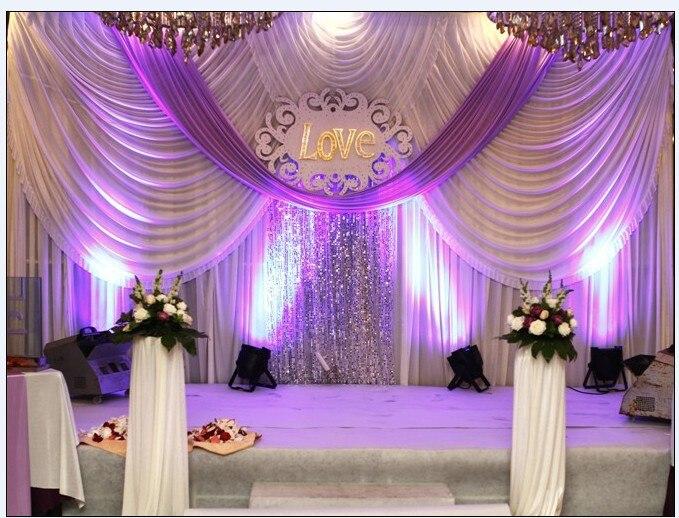 Toile de fond de mariage 20ft * 10ft avec événement swags et tissu de fête beaux rideaux de toile de fond de mariage, y compris sequin moyen
