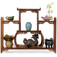 Curio Cabinet shelf mahogany frame wooden ornaments teapot wings of modern Chinese antique furniture mostly treasure frame