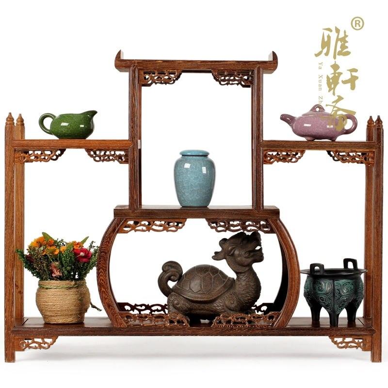 Curio armoire étagère acajou cadre en bois ornements théière ailes de moderne chinois antique meubles principalement cadre de trésor