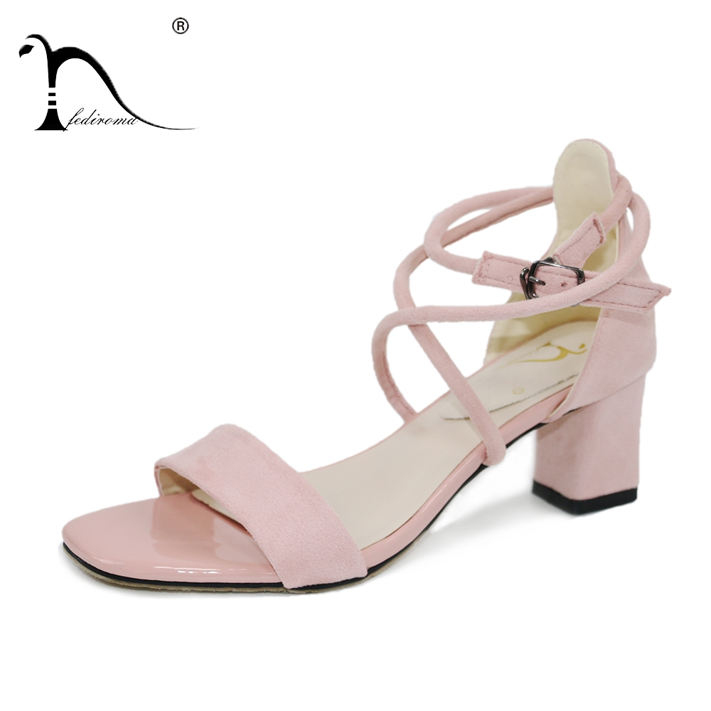 2017 concise nude suede flat summer sandals women sequined ankle strap dress shoes woman open toe bling sandals FEDIROMA Ankle Strap Heels Woman Sandals Summer Shoes Women Open Toe Chunky High Heels Party Dress Sandals Cross-tied Sandas