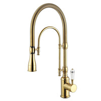 2016 Wholesale Premium Solid Brass Luxurious Golden Chrome Rinse Laundry Sink Mixer Tap Spring Pull Down