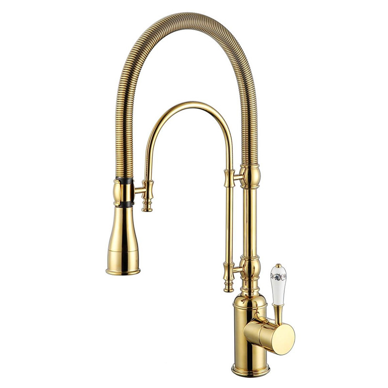 2017 Wholesale Premium Solid Brass Luxurious Golden Chrome Rinse Laundry Sink Mixer Tap Spring Pull Down