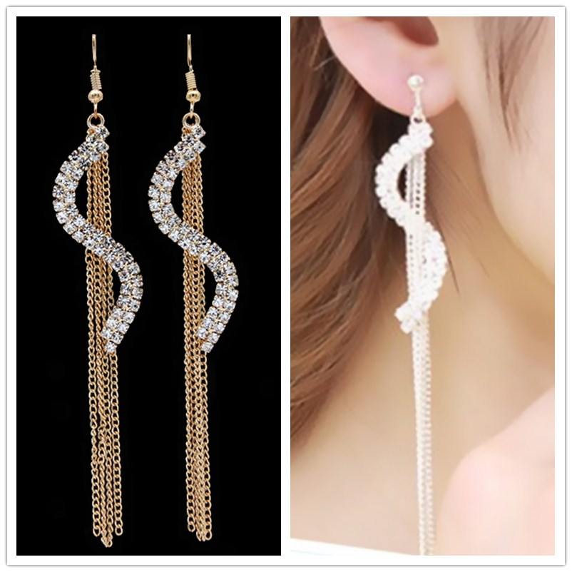 <font><b>News</b></font> Luxurious Chain Tassel Crystal S Shape Drop Earrings For Women Long Ear Line Elegant Wedding Jewelry Girl Orecchini image