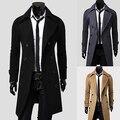 Новое Прибытие мужская Мода Двубортный Краткости Пыли Пальто Вскользь Уменьшают Подходящую Долго Верхней Одежды