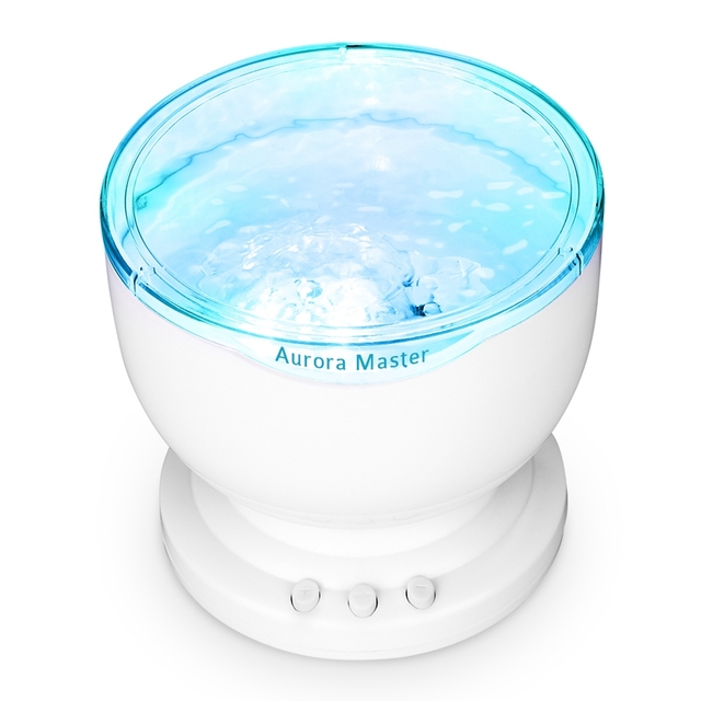 Ocean Wave Night Light Projector and Music Player with Mini Speaker 8 Soothing Brightness Modes